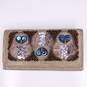 Ipanema leather beaded owl fold over wallet
